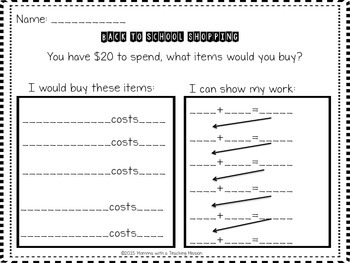 Project Based Learning-- Let's Go Back to School Shopping