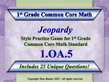 1.OA.5 Jeopardy Game 1st Grade Math Relate Counting To Add