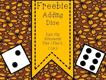 1.OA.6 Adding Dice Exit Slip Homework Printable FREEBIE