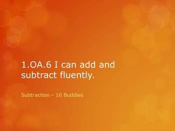 1.OA.6 CC First Grade Math Add & Subtract Fluently - Subtracting 10 Buddies