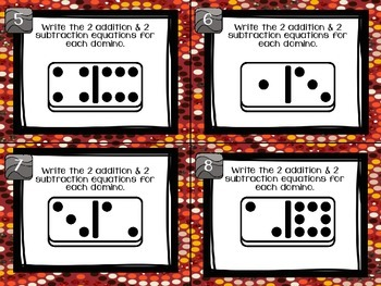 1.OA.6 Task Cards Fact Families with Dominoes