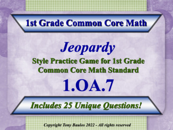 1.OA.7 1st Grade Math Jeopardy Game - Determine If Equations Are True Or False