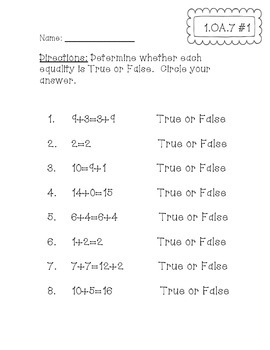 1.OA.7 Assessments
