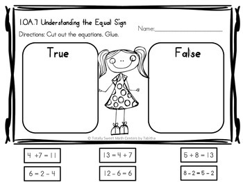 1.OA.7 Equal Sign Addition and Subtraction First Grade Formative Assessments