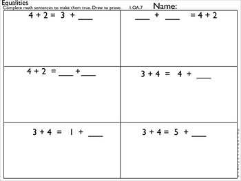 1OA7 Equalities- Draw and Prove (2 and 3 addends)