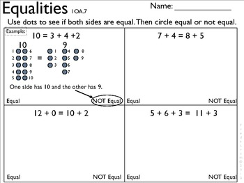 1OA7 Equalities- Model quantities through drawings and then compare