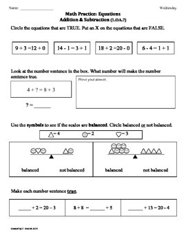 (1.OA.7) Equations -1st Grade Common Core Math Worksheets-3rd 9 Weeks