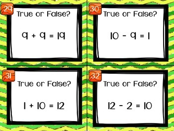 1.OA.7 Task Cards True or False Addition and Subtraction Equations