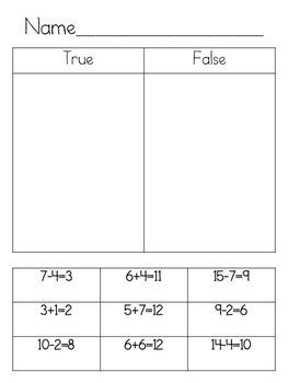1.OA.7 True False PowerPoint and Activities
