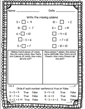 1.OA.7 and 1.OA.8 Math Worksheet or Assessment