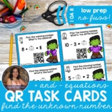 1OA8 Halloween Find the Unknown Number: Add&Subtract to 20 *QR* MATH TASK CARDS