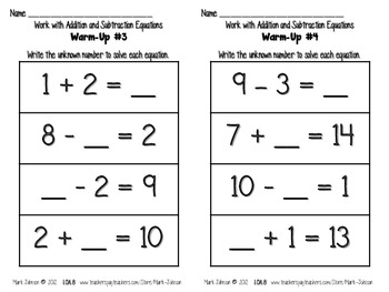 1.OA.8 More Work with Addition and Subtraction Equations
