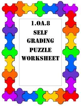 1.OA.8 Self-Grading Puzzle Worksheet
