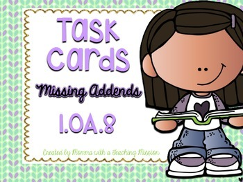 1.OA.8 Task Cards Missing Addends Addition and Subtraction