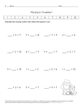 1.OA.D.8 Unknown Addends Worksheet