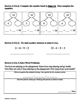 (1.OA.8) Unknown Numbers -1st Grade Common Core Math Worksheets-2nd 9 Weeks