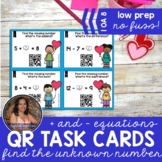 1OA8 Valentine Find the Unknown Number: Add&Subtract to 20 *QR* MATH TASK CARDS