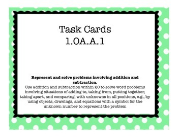 1.OA.A.1 Task Cards - 1st Grade Addition and Subtraction W