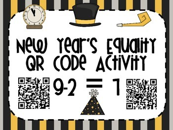 1.OA.D.7 New Year's Equality QR Code Task Cards