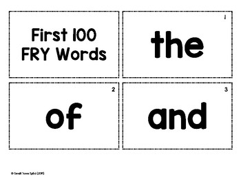 1st 100 FRY Word Flashcards and Tracker