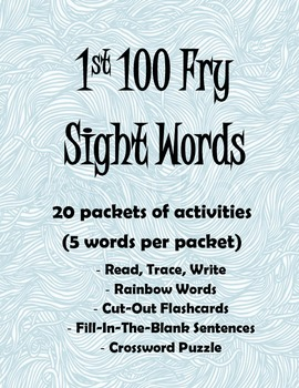 1st 100 Fry Sight Words Student Activity Packets