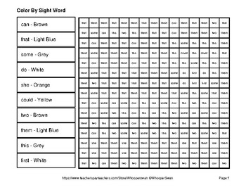 1st 100 Fry Words: Color by Sight Word - Cats Mystery Pictures