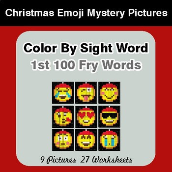 1st 100 Fry Words: Color by Sight Word - Christmas Emoji Mystery Pictures