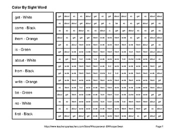 1st 100 Fry Words: Color by Sight Word - Halloween Mystery Pictures