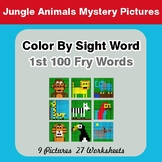 1st 100 Fry Words: Color by Sight Word - Jungle Animals Mystery Pictures