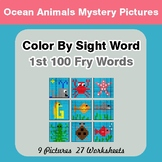 1st 100 Fry Words: Color by Sight Word - Ocean Animals Mystery Pictures