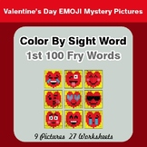 1st 100 Fry Words: Color by Sight Word - Valentine's Day Emoji Mystery Pictures