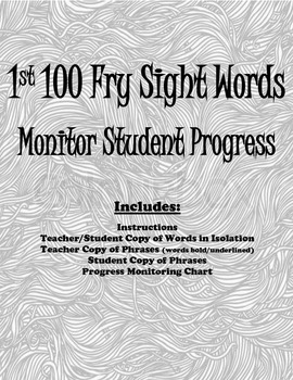 1st 100 Fry Words Progress Monitoring Packet