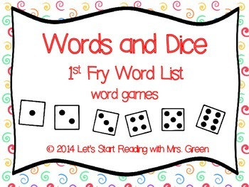 1st 100 Fry Words and Dice