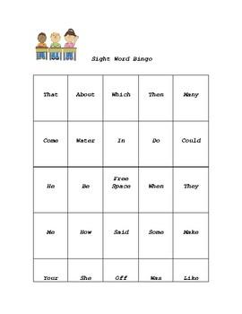 1st 100 Frys Sight Word Bingo