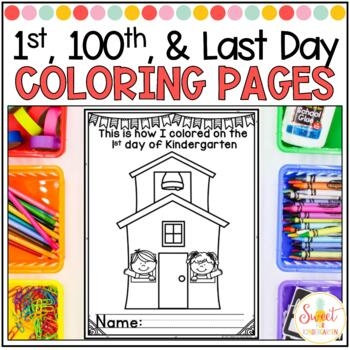 1st, 100th, and Last Day of School Coloring Sheets