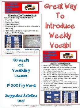 FRY VOCABULARY CARDS! 1st 200 Large Display