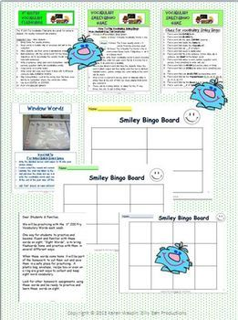 FRY VOCABULARY CARDS +Smiley Bingo Game 1st 200