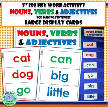 FRY WORDS ACTIVITY ALL YEAR Nouns Verbs & Adjectives 1st 200 Large Display Cards