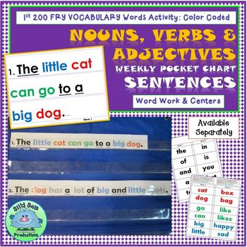 1st Grade VOCABULARY ACTIVITIES ALL YEAR! Nouns Verbs & Adjectives Sentences