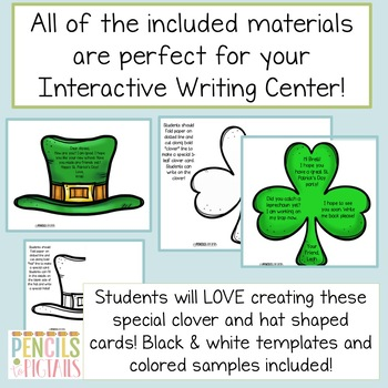 St. Patrick's Day Writing Practice - Cards, Letters & More - Center Printables