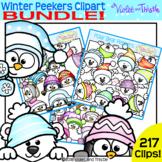 Winter Peekers/Page Topper Clipart Bundle Snowman{Winter Clipart}