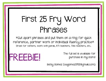 1st 25 Fry Phrase Cards