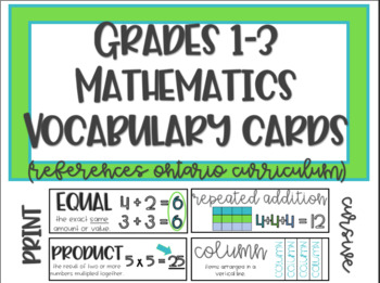 1st, 2nd, & 3rd Grade Common Core Math Vocab. - WORD WALL (Ontario Curriculum)