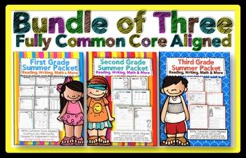 Summer Review 1st, 2nd, 3rd Grade Common Core: Mega Bundle