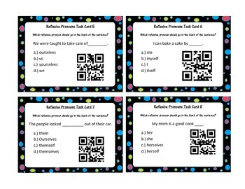 2nd grade language ela QR task cards review for centers and around the room!