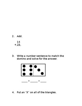 1st & 2nd Grade Beginning of the Year Math Pre-Assessment w/Answer Key[Editable]