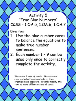 1st 2nd Grade Common Core: Addition Facts to 18 Math Center Pack 1.OA.6 - 1.OA.8
