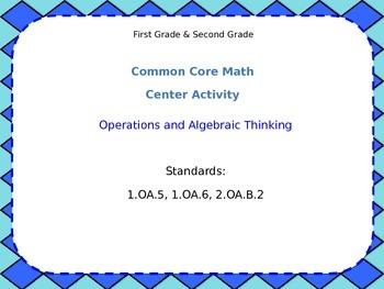 1st 2nd Grade Common Core: Addition Math Center - Domino Trains 1.OA.6; 2.OA.B.2