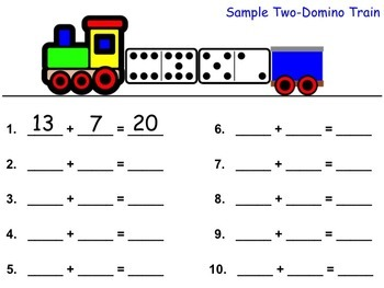 1st 2nd Grade Common Core: Addition Math Center - Domino T