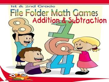 1st & 2nd Grade File Folder Math Games - ADDITION & SUBTRACTION [Book 2]